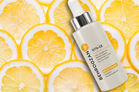Vita-CE serum contains Vitamin C to help strengthen the skin barrier, and is available at Dr. Behroozan's practice